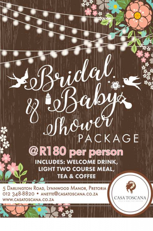 bridal baby shower packages 2017 casa toscana pretoria
